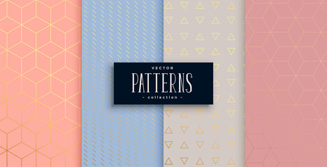 lovely geometric pastel and gold pattern set
