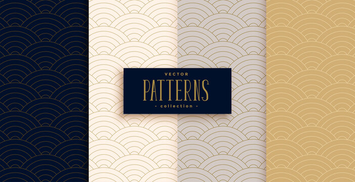stylish chinese traditional curve lines pattern set