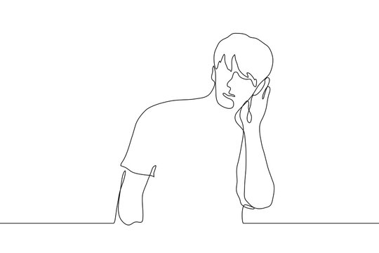 continuous line drawing the silhouette of a man who put his hand to his ear to hear better. Hearing problems, eavesdropping on gossip, poor communication. It can be used for animation. Vector