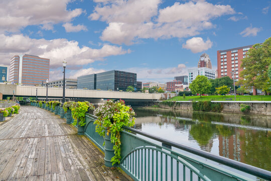 City skyline of Lansing, Michigan along the Grand River