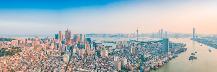 Fotobehang Londen Aerial panoramic views of Zhuhai, China, and The Great Bay Area of Macau