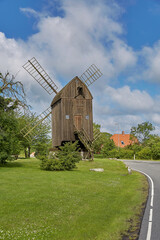 Timbered post mill built in 1629 - the oldest preserved windmill in Denmark, Svaneke, Bornholm island