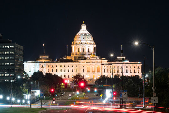 Facade of the Minnesota State Capitol Building in St Paul at night