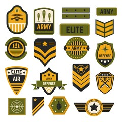 Army signs and badges or stripes elite military isolated icons