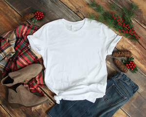 Flat lay mockup of white tshirt with Christmas accessories