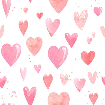seamless pattern on a white background, watercolor illustration, hand drawing, heart doodles, valentines day