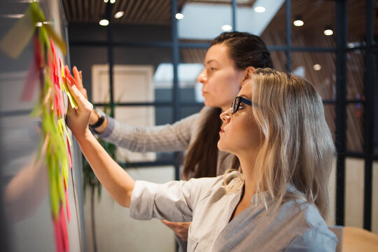 Teamwork, project management, agile methodology. Two young business women in the office