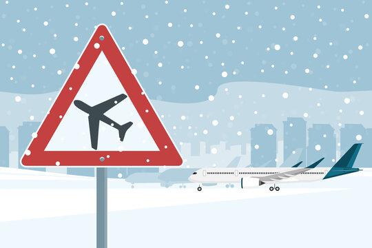 Airport during a snowfall. Vector illustration