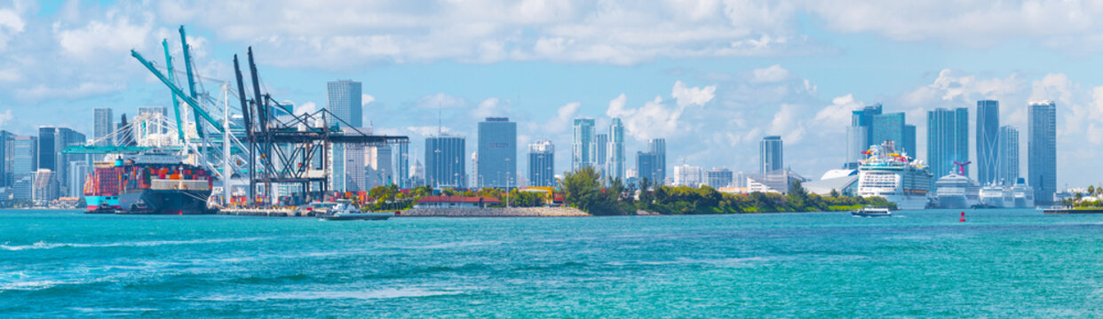 Port of Miami with cruise ships and cargo ships panorama view, Florida, USA
