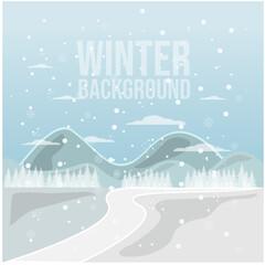 Printed kitchen splashbacks Light blue Winter snowy landscape vector design illustration background