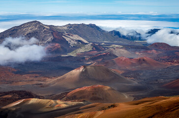 Stunning view into the crater of Haleakala volcano with colorful cinder cones, Maui, Hawaii