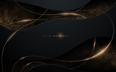 Abstract black and gold background with gold threads