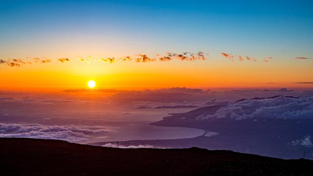 Sunset from Haleakala National Park, Maui, Hawaii