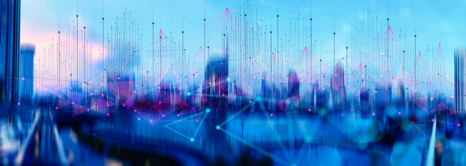 Wall Mural - Wireless network and Connection technology concept with Abstract Bangkok city background in panorama view