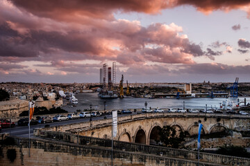 Printed roller blinds Eastern Europe Valletta impressions right before sunset
