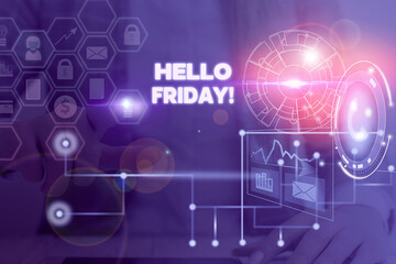 Writing note showing Hello Friday. Business concept for used to express happiness from beginning of fresh week Picture photo network scheme with modern smart device