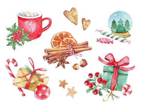 Set of Christmas decorations of gift with candy, red cup with branch, cinnamon, gingerbread and various elements of the new year and Christmas. Isolated watercolor illustrations on white background.