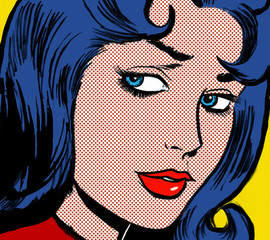 illustration of a girl face in the style of 60s comic books, pop art