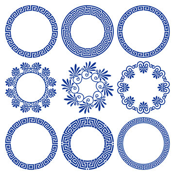 Vector set of round blue frames in traditional and modern greek style
