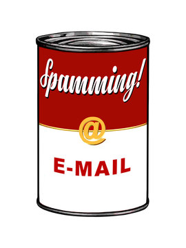 Spamming e-mail on tomato soup can, in the style of 60's pop art