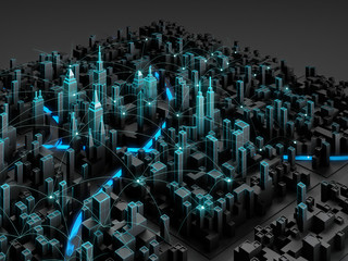 Perspective view of night cityscape with wireless connection line. Smart city technology.