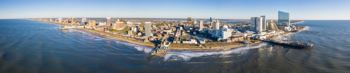 Drone view on the Atlantic City Skyline