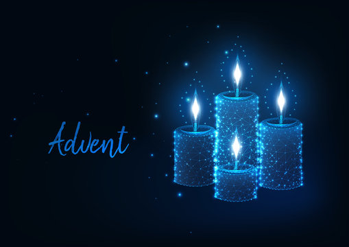 Futuristic Christmas Advent concept with glowing low polygonal burning candles with lights.