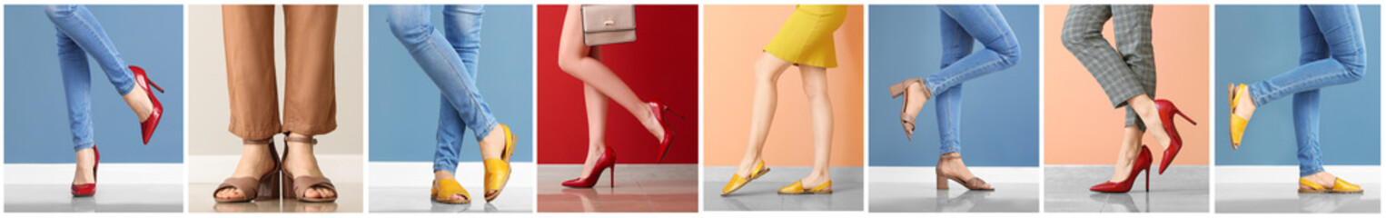 Collage with legs of young woman in stylish shoes