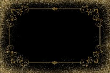 Gold - Frame - Glitter - Backdrop - 007