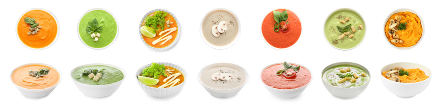 Collage with tasty cream soups in bowls on white background