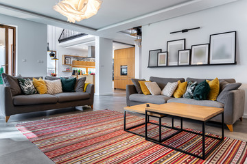 Obraz Modern interior design - livingroom - fototapety do salonu