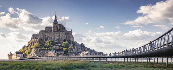 Fototapeta tidelands with Mont Saint-Michel, English Channel, Way of St. James, Route of Santiago de Compostela, Basse-Normandie, France obraz