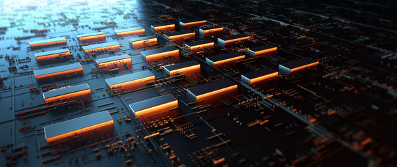 Wall Mural - Printed circuit board futuristic server/Circuit board futuristic server code processing. Orange,  green, blue technology background with bokeh.