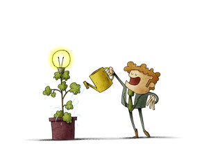 Businessman is watering a plant from which a light bulb blooms. isolated