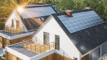 Modern house with solar panels on the roof with sun flare