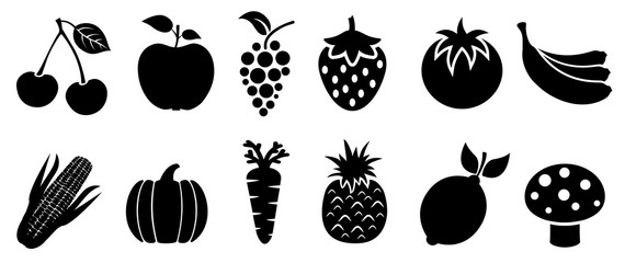 Set of fruits and vegetables icons. Variety products, healthy food collection of strawberry, apple, pineapple, cherry, grape, tomato, carrot, maize, pumpkin, lemon, banana, mushroom – stock vector