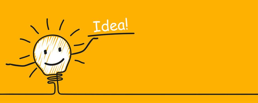 Idea concept, creative funny bulb sign, innovations – vector