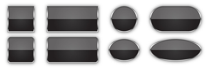Set of black glossy vector buttons. Wall mural