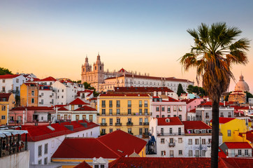 Beautiful panoramic view of  old district Alfama, Lisbon, Portugal Wall mural