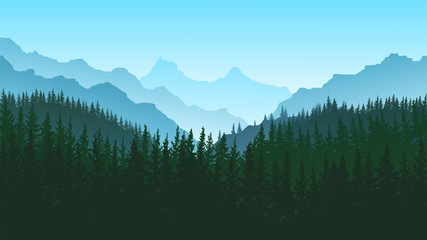 vector image of mountains in the form of silhouettes