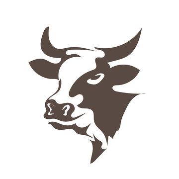 head cow animal logo designs