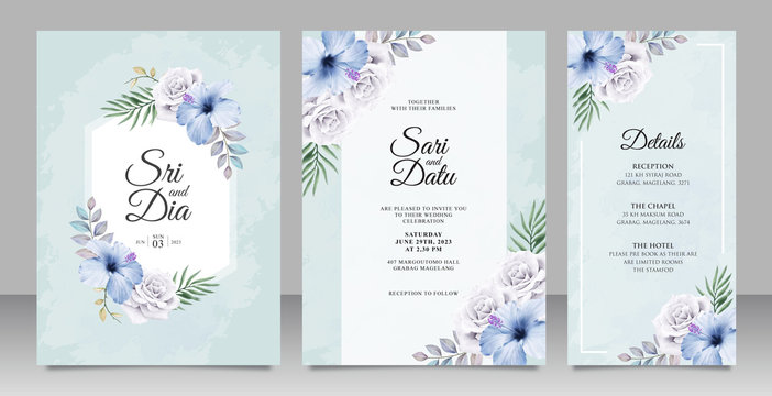Elegant wedding invitation card set template with beautiful floral on blue background