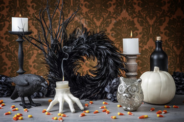 Interior Holiday decoration with candles and candy corn