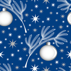 Seamless pattern White coniferous Christmas-tree branch on a blue background with a Christmas-tree toy in the form of a ball with the image of the moon. Starry sky on the background.