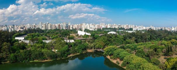 Vista aérea panorâmica do Parque do Ibirapuera in Sao Paulo, Brazil