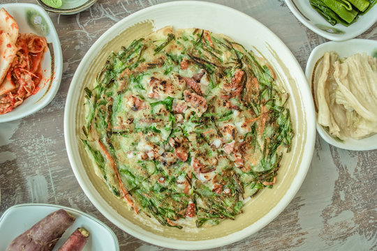 Korean traditional food: chive and seafood pancake