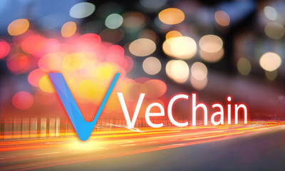 Concept of VeChain coin moving fast on the road, a Cryptocurrency blockchain platform