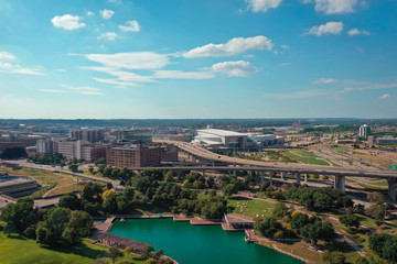 Aluminium Prints Blue rial view of downtown Omaha Nebraska, USA