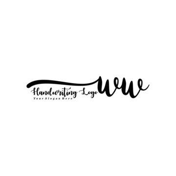WW Letter Handwriting Vector. Black Handwriting Logo