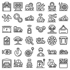 Electric vehicle repair icons set. Outline set of electric vehicle repair vector icons for web design isolated on white background
